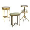 Decorative tables two with marble tops one with onyx late 19thearly 20th c tallest 33