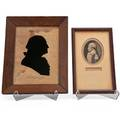 Silhouette of general washington 19th c together with a facsimile signature and engraving of washington silhouette 9 12 x 6 34 sight