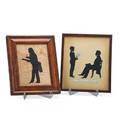 Augustin edouart frenchamerican 17891861 full length silhouette of a seated gentleman and boy with sheet music identified as chas johnson sr and jr of norwich connecticut dated 1873 togethe