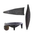 Oceanic items four 20th c admiralty island bowl sepik river bowl crocodile canoe prow and nut bowl longest 29 12