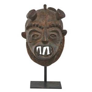 Congolese mask mounted on iron frame 20th c 14 12 x 10 x 9
