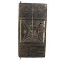 Senufo granary door carved panels with animal and mask design 20th c 57 x 27