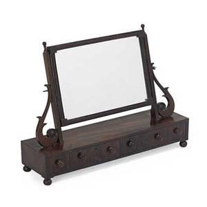 Classical dressing mirror mahogany button feet early 19th c 21 x 30 x 8