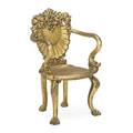 Grotto style gilt wood armchair shell carved backrest early 20th c 39 14 x 24 x 20 12