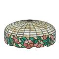 Leaded glass shade floral decorated border 20th c 16 dia