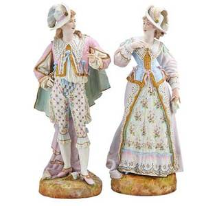Pair of handpainted bisque figures man and woman in formal dress 19th c 23