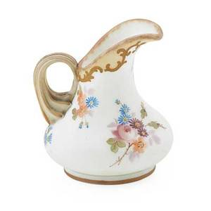 Crown milano creamer handpainted floral decoration applied handle late 19th c marked 3 78