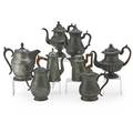 American pewter coffee pots and water jugs eight 19th c by various makers including smith  co boston ja stimpson baltimore wms matthews woodbury  colton philadelphia babbit crossman  co