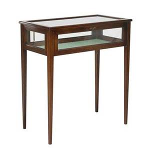 Tabletop vitrine mahogany with banded inlay and beveled glass top and sides 20th c 36 x 32 x 17
