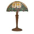 Leaded glass lamp slag glass with floral decoration on patinated white metal base 20th c 24 x 17 dia