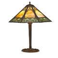 Paneled glass table lamp octagonal shade white metalbronze base early 20th c 28 x 25 dia