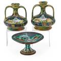 Continental art pottery three items 20th c pair of double handled vases and compote early 20th c compote 5 x 9