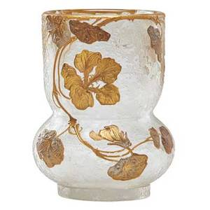 Continental art glass vase gilded floral decoration on frosted glass possibly french late 19th c 5 12 x 4 dia