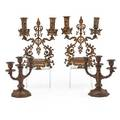 Bronze candelabra two pair one 2light one 3light european ca 1900 taller 12