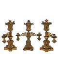 Ji cox argand lamp set three pieces missing shades and prisms not electrified 19th c stamped ji cox new york largest 20