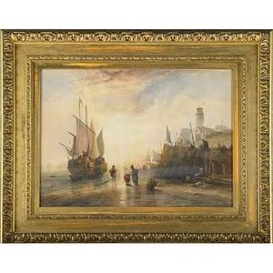 19th c maritime painting watercolor on paper of a harbor scene framed 29 x 21 12 sight