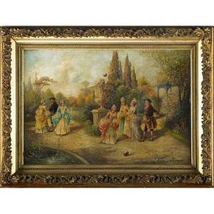 L dories european 19th c oil on canvas of a continental court scene elaborate gilded frame signed 18 12 x 26 34