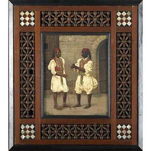 Orientalist painting on panel oil on wood panel of two men in turkish dress motherofpearl decorated frame initialed r 10 34 x 8 34