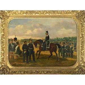 Charles de luna french 19th c oil on canvas of a french military scene 1848 gilt frame signed and dated 26 x 37