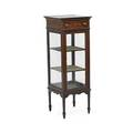 Edwardian curio cabinet mahogany with line inlay one drawer over one door ca 1905  42 x 13 14 x 14 12