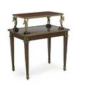 Louis xvi style tray table twotiered in mahogany with dore bronze mounts late 19thearly 20th c 36 x 31 x 21 12