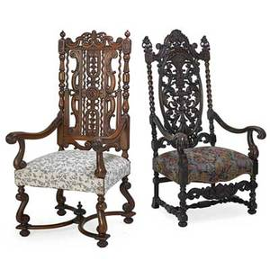 Baroque style armchairs two with carved walnut frames and upholstered seats 20th c larger 55 12 x 30 x 23 12