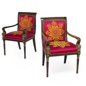 Pair of empire style open arm chairs walnut frames with parcelgilt upholstered seats and backs ca 1900 35 12 x 22 x 21