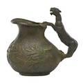 Archaic bronze pitcher figural leopard handle floral and vine decoration late 19th c 7 34 x 7 x 5 12