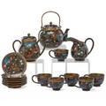 Chinese cloisonne tea set fifteen pieces 20th c teapot sugar creamer and six cups with saucers teapot 7 x 6 12 x 5 14