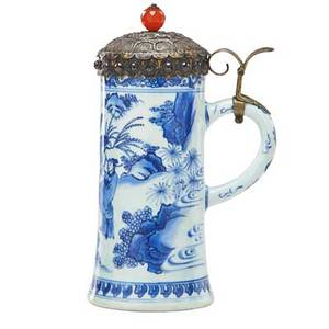 Chinese export porcelain stein silver mounted with silver plate patinated and jeweled lid 19th c 9 34