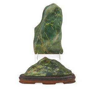 Chinese spinach jade mountains two one mounted on wood base early 20th c larger 7 12 x 4 12