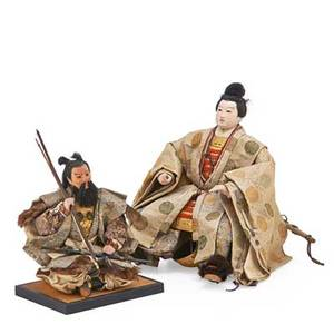 Japanese boys day samurai figures two seated on wood bases 20th c larger 17 12 x 12 x 12