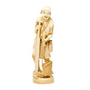 Japanese carved ivory figure man holding a fish with leashed bird early 20th c 12 34