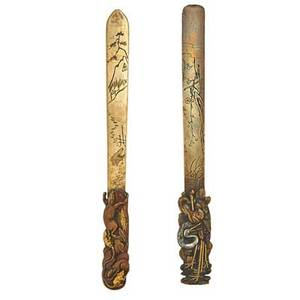 Japanese mixed metal page slices two with figural handles early 20th c signed larger 12