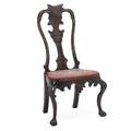 Portugese rococo style side chair mahogany frame needlepoint upholstered seat early 20th c 17 14 x 26 14 x 16 14