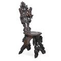 Baroque style chair heavily carved walnut frame with cherubs 19th c 49 x 19 12 x 16