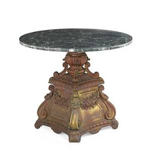 Marble top occasional table parcelgilt metal base with foliate decoration early 20th c 29 x 42 dia