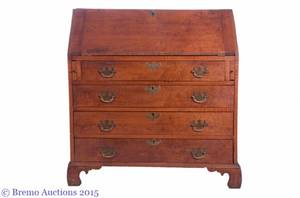 19th C Curly Maple Slant Front Desk