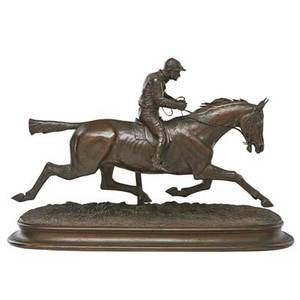 Jules bennes french 19th c bronze sculpture of a racehorse and jockey signed 12 12 x 19 x 6 12