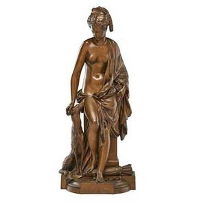 Albert ernest carrierbelleuse french18241887 bronze sculpture of diana with greyhound signed 28 12