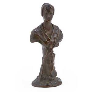 Figural cabinet bronze bust of a young woman early 20th c initialed k m 8