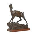 German bronze sculpture mountain goat on wood base 19th c inscribed kunst  metallgiesserei roland sticher breslau 15 x 12 x 5