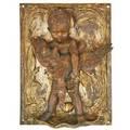 Bronze figural fountain cherub holding a goose 20th c 15 12 x 11 12