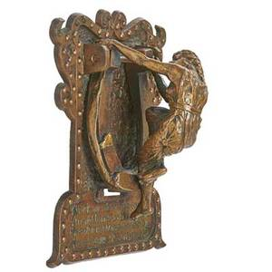Bronze figural doorknocker woman with horseshoe early 20th c 4 x 9 x 8