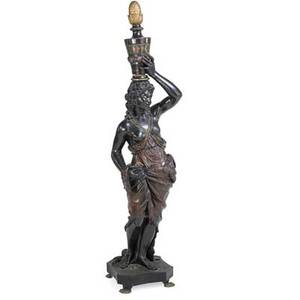 Venetian parcelgilt blackamoor torchiere carved wood polychrome decoration late 19th c 68