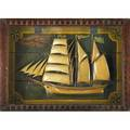 American folk art carved sail boat by s anarger chester pennsylvania early 20th c shadowbox frame 24 x 33 x 5