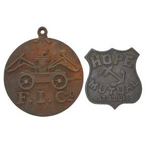 American cast iron fire marks two 19th c hope mutual and fi co firefighters insurance larger 14 x 12 38