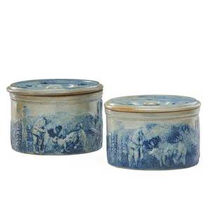 American stoneware lidded butter crocks two decorated with a hunting scene late 19th20th c larger 9 x 8 12