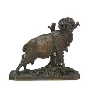 Pierre jules mene french 18101879 bronze sculpture of a ram beside a tree 19th c signed 8 14 x 9 12 x 4 14