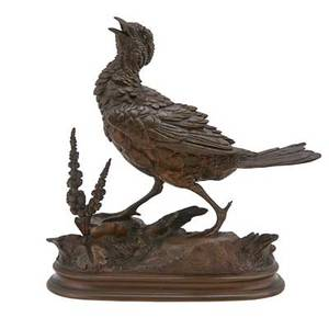 Pauledouard delabrierre french 18291923 bronze sculpture of a game bird 19th c signed 9 x 9 x 3 12